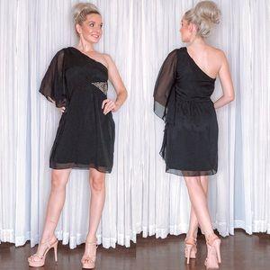 Black Flowy Cocktail Party Dress